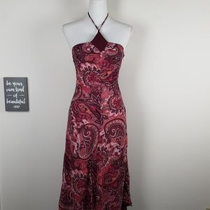 Banana Republic Floral Paisley Midi Halter Dress